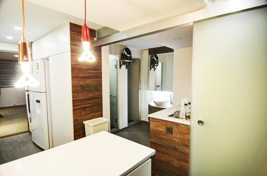 Eclectic, HDB, Toa Payoh (Block 204), Architect, FOMA Architects, Sink, Bathroom, Indoors, Interior Design, Room