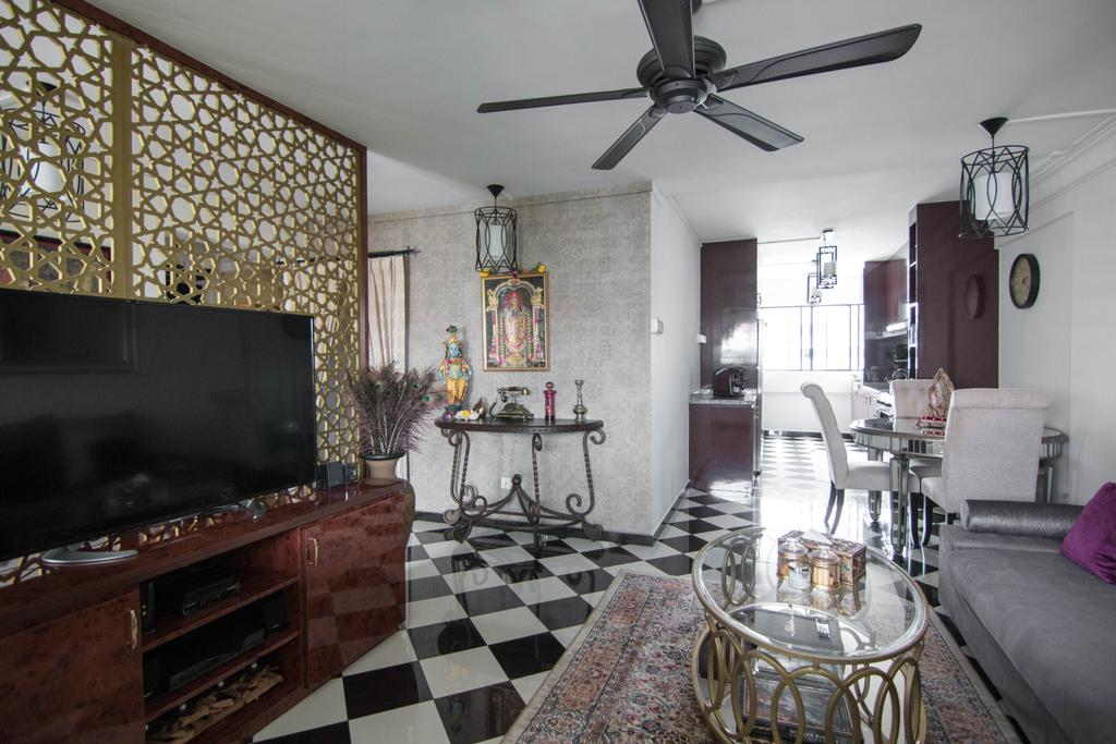 Traditional, HDB, Living Room, Hougang Avenue 10 (Block 513), Interior Designer, 9 Creation, Carriage, Transportation, Vehicle, Couch, Furniture, Dining Room, Indoors, Interior Design, Room, Dining Table, Table, Fireplace, Hearth