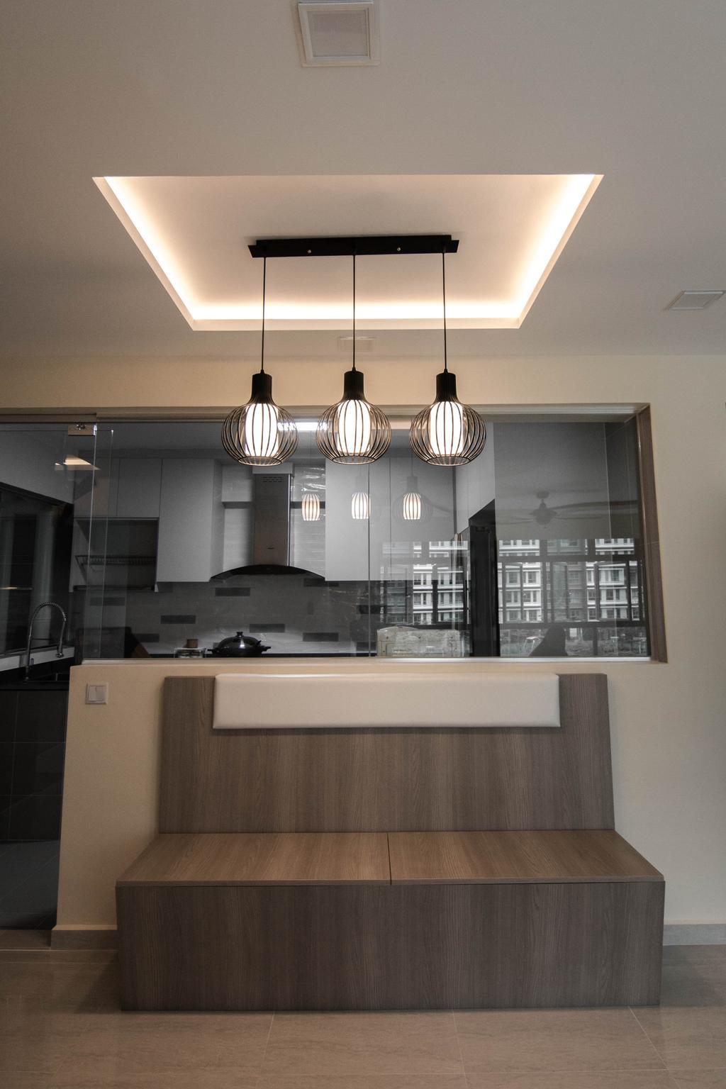 Modern, HDB, Kitchen, Waterway Cascadia, Interior Designer, 9 Creation, Light Fixture, Lighting