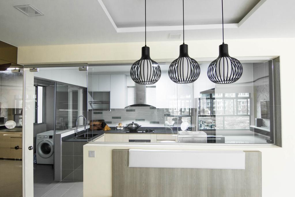 Modern, HDB, Kitchen, Waterway Cascadia, Interior Designer, 9 Creation, Sink, Indoors, Interior Design, Room