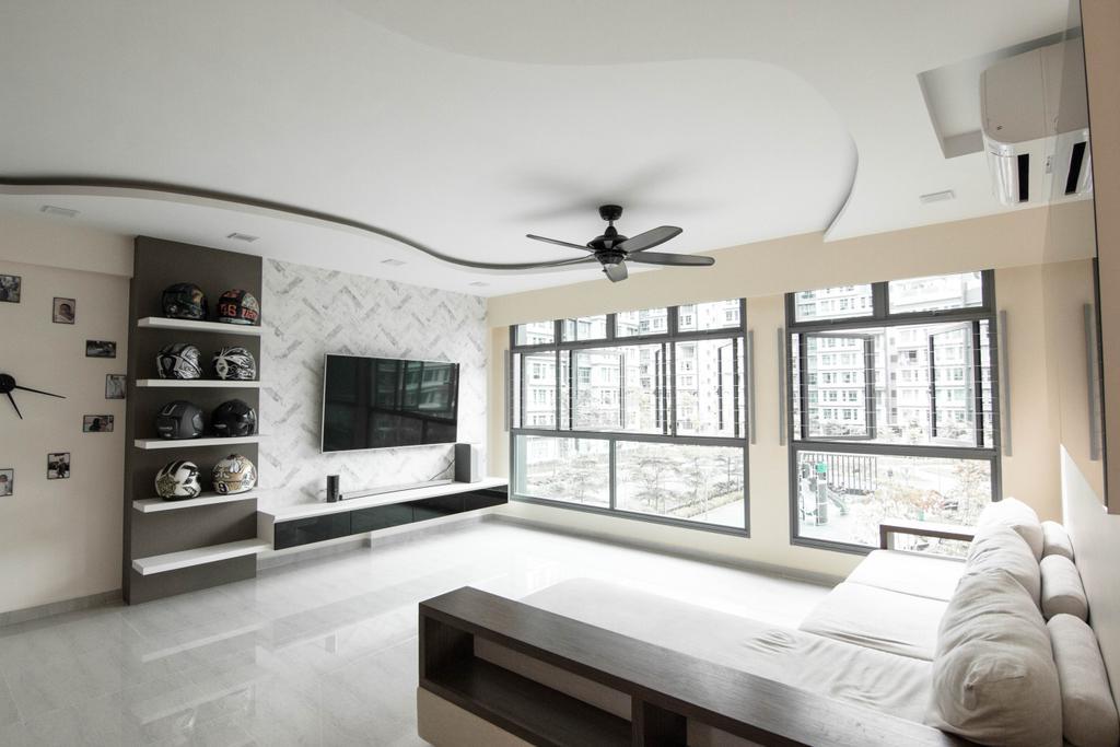 Modern, HDB, Living Room, Waterway Cascadia, Interior Designer, 9 Creation, Indoors, Room