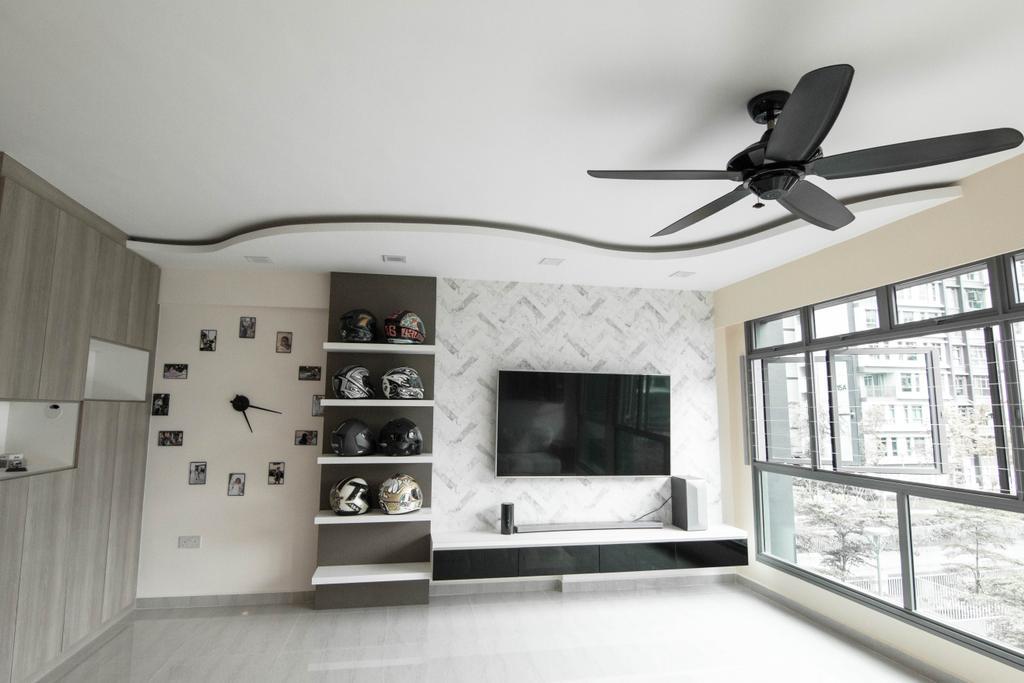 Modern, HDB, Living Room, Waterway Cascadia, Interior Designer, 9 Creation, Fireplace, Hearth
