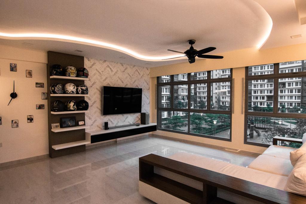 Modern, HDB, Living Room, Waterway Cascadia, Interior Designer, 9 Creation, Couch, Furniture, Indoors, Interior Design, Fireplace, Hearth