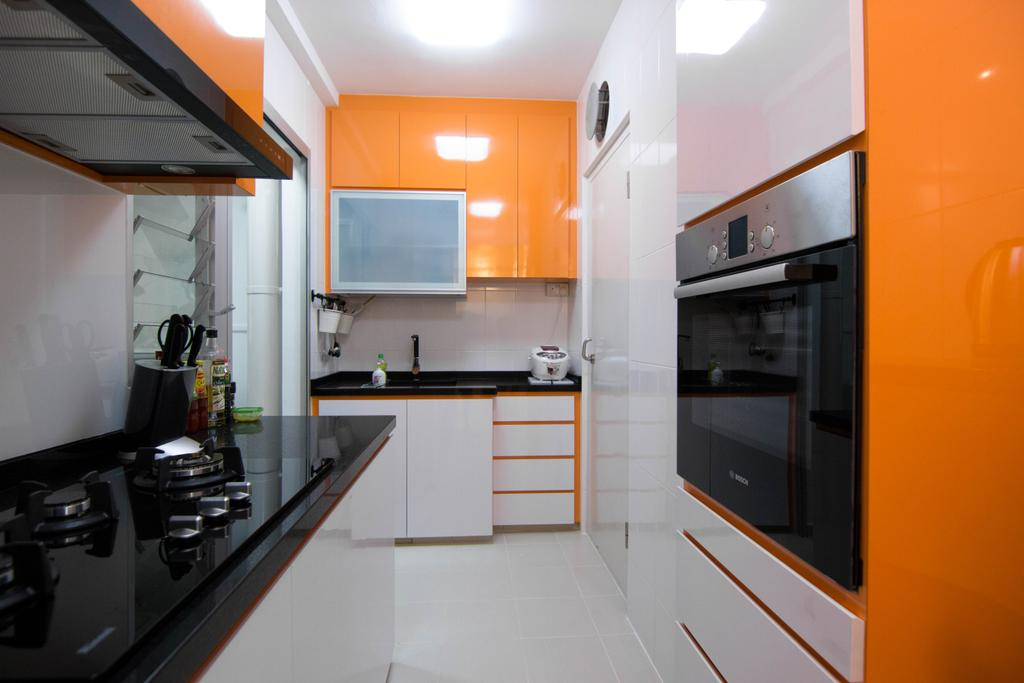 Modern, HDB, Kitchen, Clementi Avenue 4 (Block 312B), Interior Designer, 9 Creation, Indoors, Interior Design, Room, Appliance, Electrical Device, Oven, Luggage, Suitcase