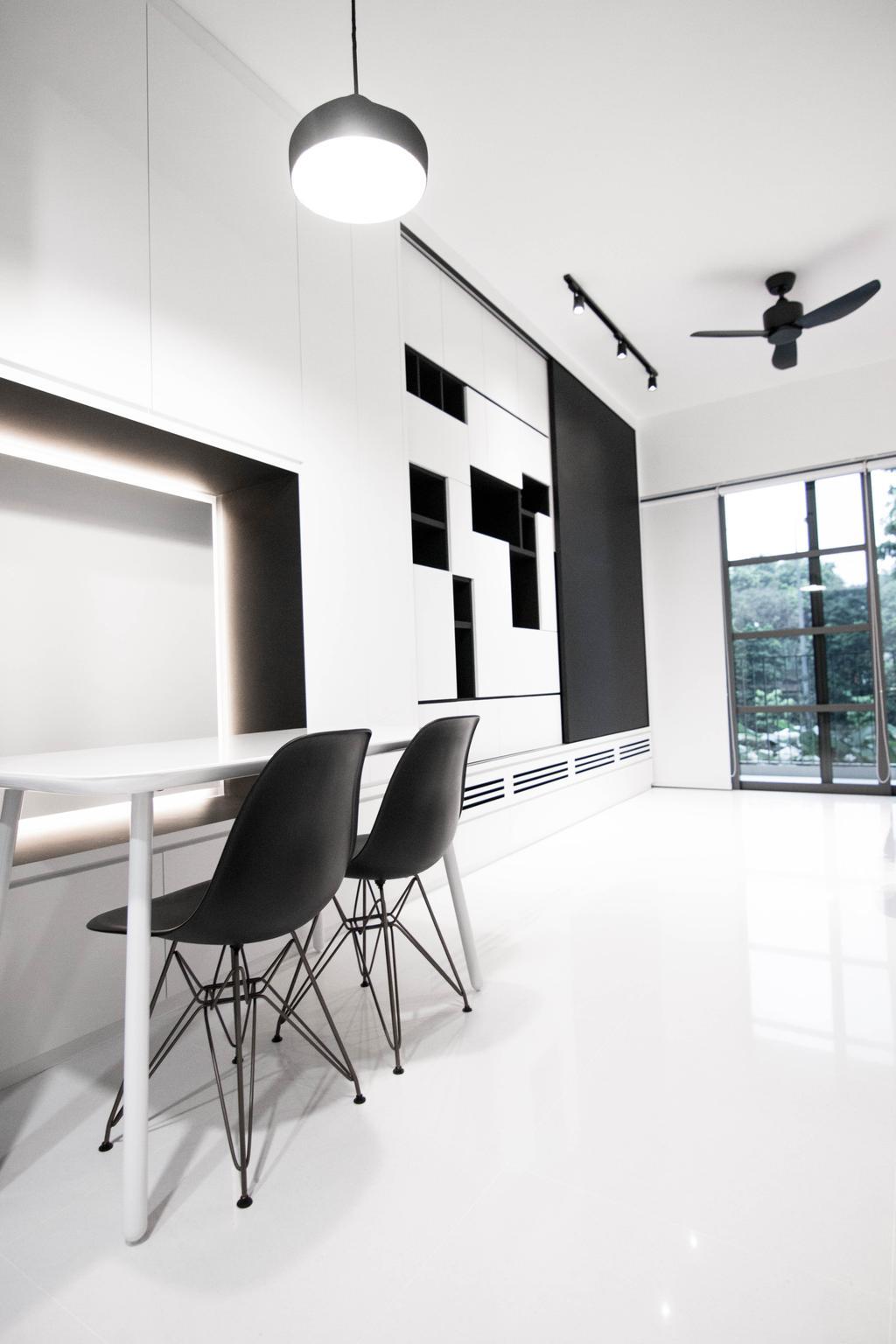Contemporary, HDB, Dining Room, Braddell Road, Interior Designer, 9 Creation, Industrial, Chair, Furniture, Door, Sliding Door