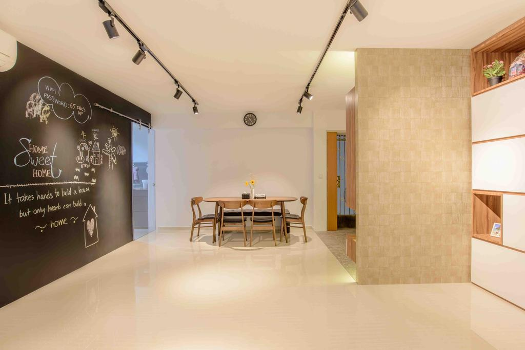 Minimalistic, HDB, Dining Room, Anchorvale Street (Block 330A), Architect, FOMA Architects, Blackboard, Flooring, Dining Table, Furniture, Table, Indoors, Interior Design, Room
