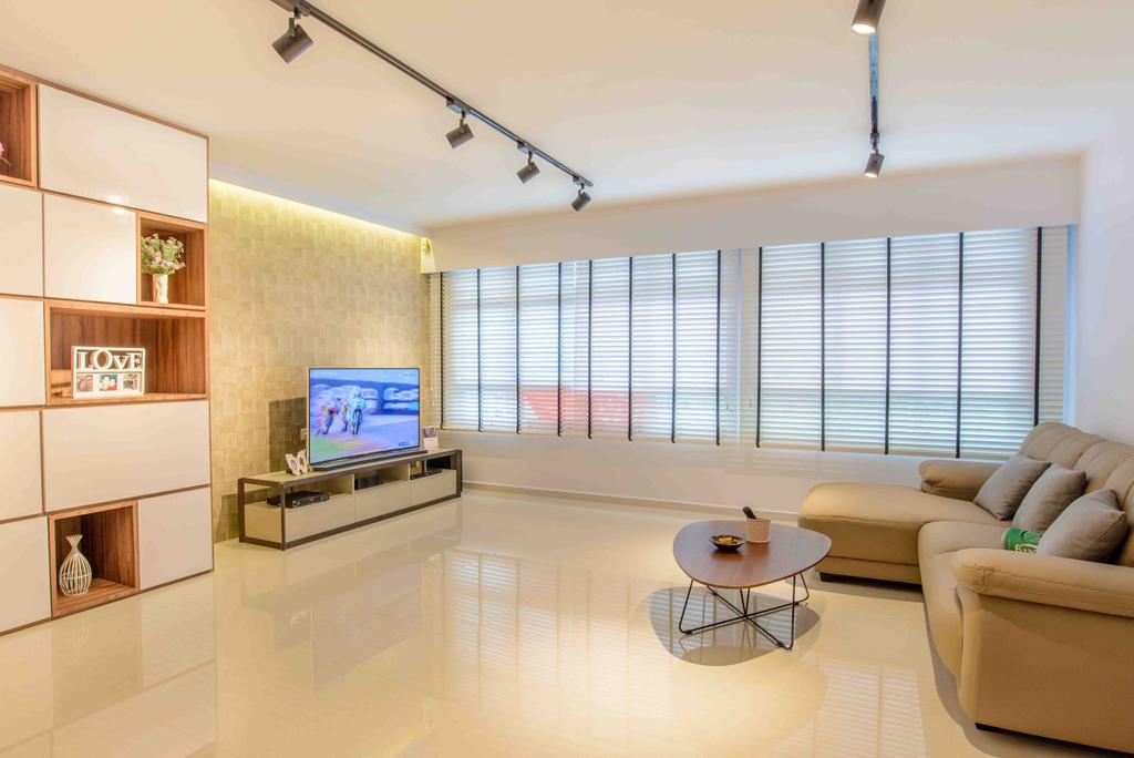 Minimalistic, HDB, Living Room, Anchorvale Street (Block 330A), Architect, FOMA Architects, Coffee Table, Furniture, Table, Electronics, Monitor, Screen, Tv, Television, Shelf, Couch, Dining Table
