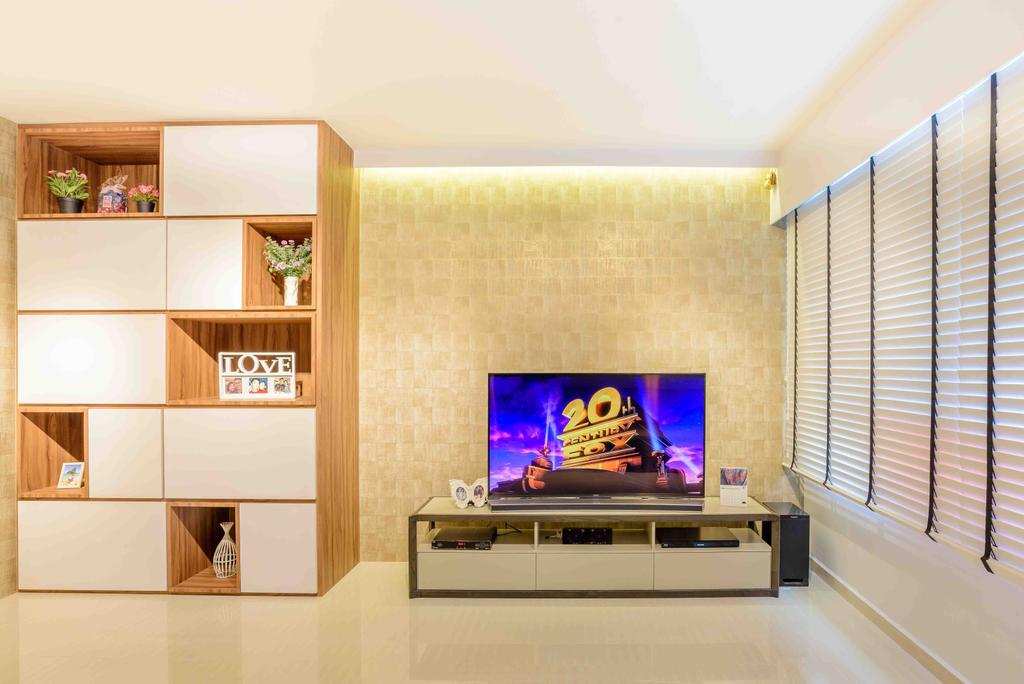 Minimalistic, HDB, Living Room, Anchorvale Street (Block 330A), Architect, FOMA Architects, Cubbyhole, Cabinet, Storage, Display, Tv Console, Indoors, Interior Design, Electronics, Entertainment Center