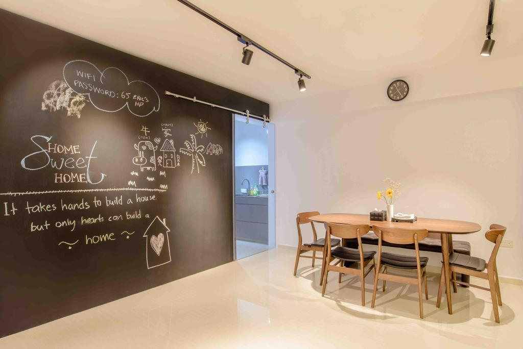 Minimalistic, HDB, Dining Room, Anchorvale Street (Block 330A), Architect, FOMA Architects, Blackboard, Dining Table, Furniture, Table, Mirror, Chair