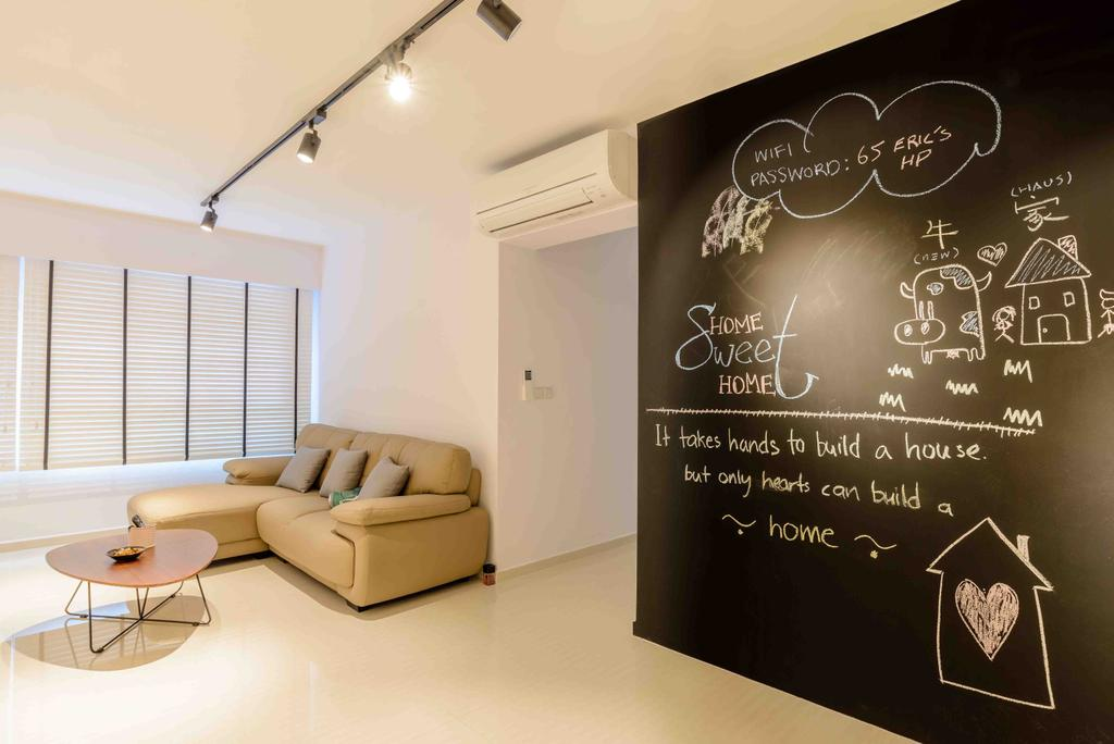 Minimalistic, HDB, Living Room, Anchorvale Street (Block 330A), Architect, FOMA Architects, Chalk Wall, Track Lights, Coffee Table, Hallway, Aircon, Corridor, Walkway, Furniture, Table, Blackboard, Couch