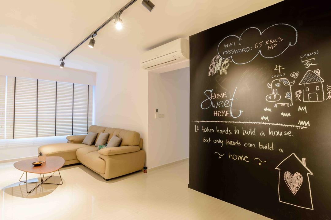 Anchorvale Street (Block 330A), FOMA Architects, Minimalistic, Living Room, HDB, Chalk Wall, Track Lights, Coffee Table, Hallway, Aircon, Corridor, Walkway, Furniture, Table, Blackboard, Couch