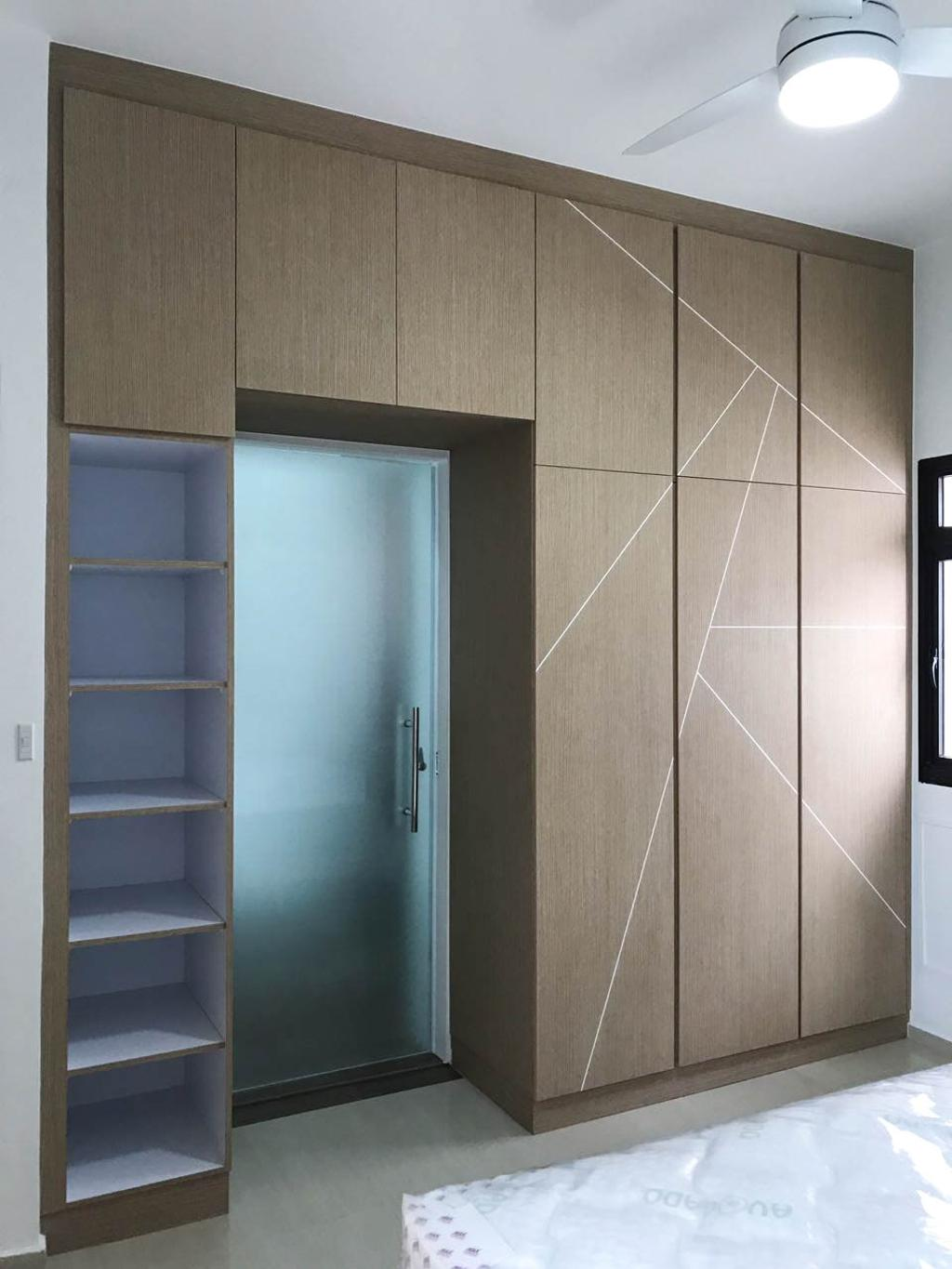 Minimalistic, HDB, Bedroom, Clementi Avenue 3 (Block 462), Interior Designer, 9 Creation, Contemporary, Tile, Shelf, Door, Sliding Door