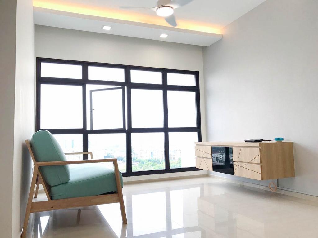 Minimalistic, HDB, Living Room, Clementi Avenue 3 (Block 462), Interior Designer, 9 Creation, Contemporary, Chair, Furniture, Sideboard, Reception, Reception Desk, Table