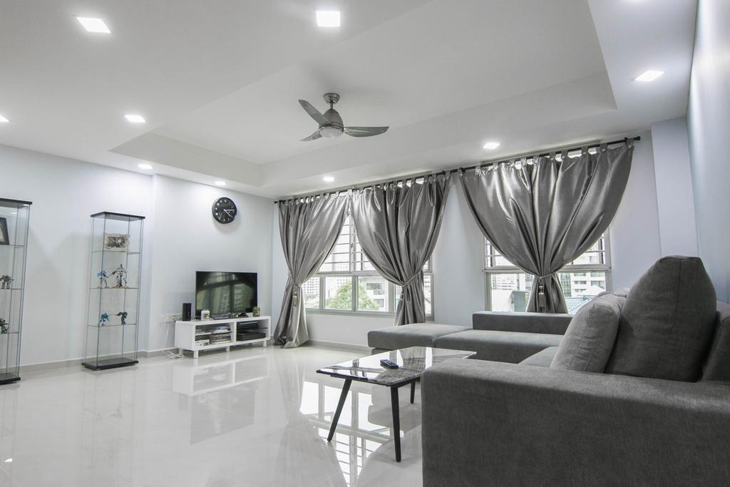 Modern, HDB, Living Room, Choa Chu Kang Avenue 7 (Block 815B), Interior Designer, 9 Creation, Dining Table, Furniture, Table, Curtain, Home Decor, Chair, Electronics, Entertainment Center