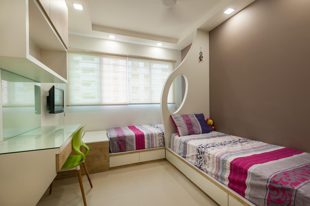 Petir Road (Block 150), Le Interi, Traditional, Bedroom, HDB, Kids Room, Kids, Children, Study Table, Chairs, Partition, False Ceiling, Roller Blinds, Bed With Storage, Girls Room, Indoors, Interior Design, Room, Bed, Furniture