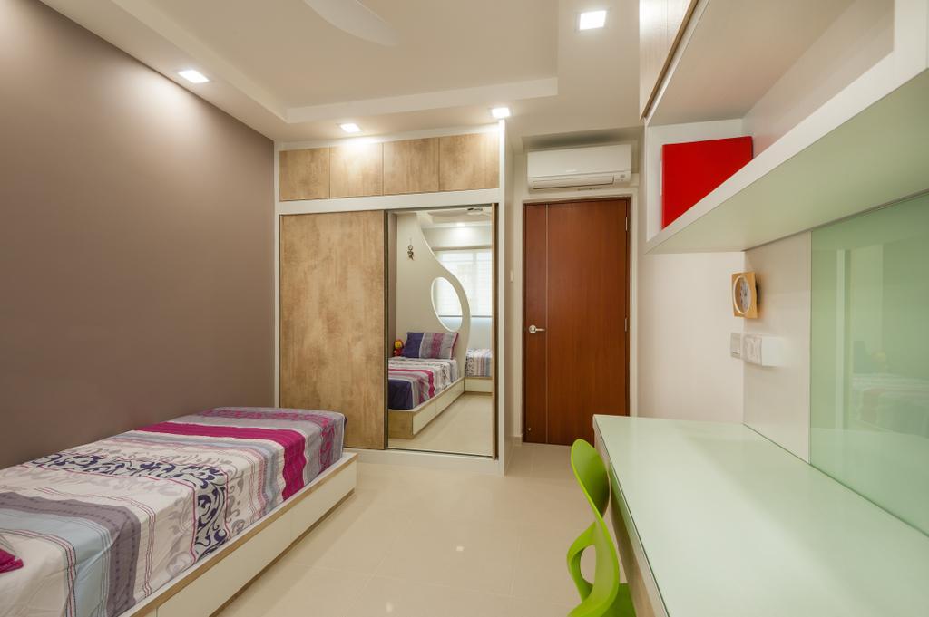 Traditional, HDB, Bedroom, Petir Road (Block 150), Interior Designer, Le Interi, Kids Room, Kids, Study Table, Wardrobe, Shelves, Home Decor, Quilt