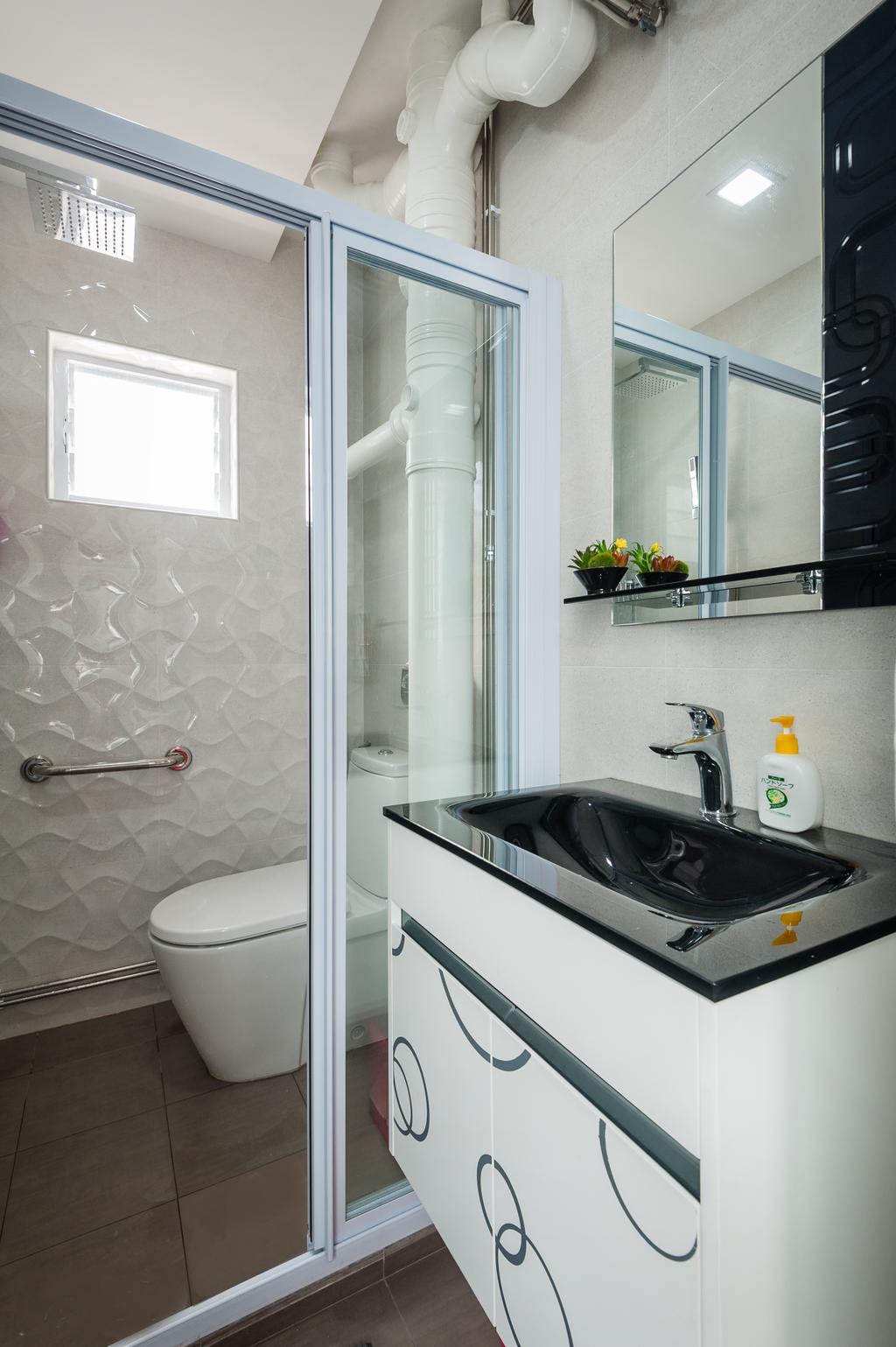 Traditional, HDB, Bathroom, Petir Road (Block 150), Interior Designer, Le Interi, Bathroom Vanities, Bathroom Tiles, Shower Area, Indoors, Interior Design, Room