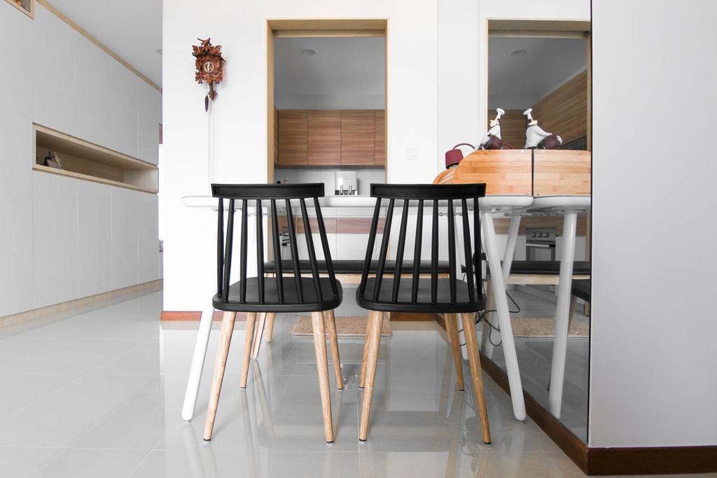 Scandinavian, Condo, Dining Room, Sea Horizon, Interior Designer, 9 Creation, Contemporary, Bar Stool, Furniture, Chair, Dining Table, Table