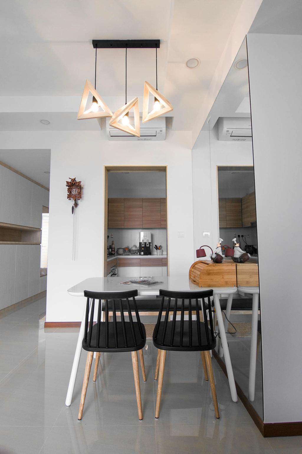 Scandinavian, Condo, Dining Room, Sea Horizon, Interior Designer, 9 Creation, Contemporary, Dining Table, Furniture, Table, Sink, Indoors, Interior Design, Room, Chair, Kitchen