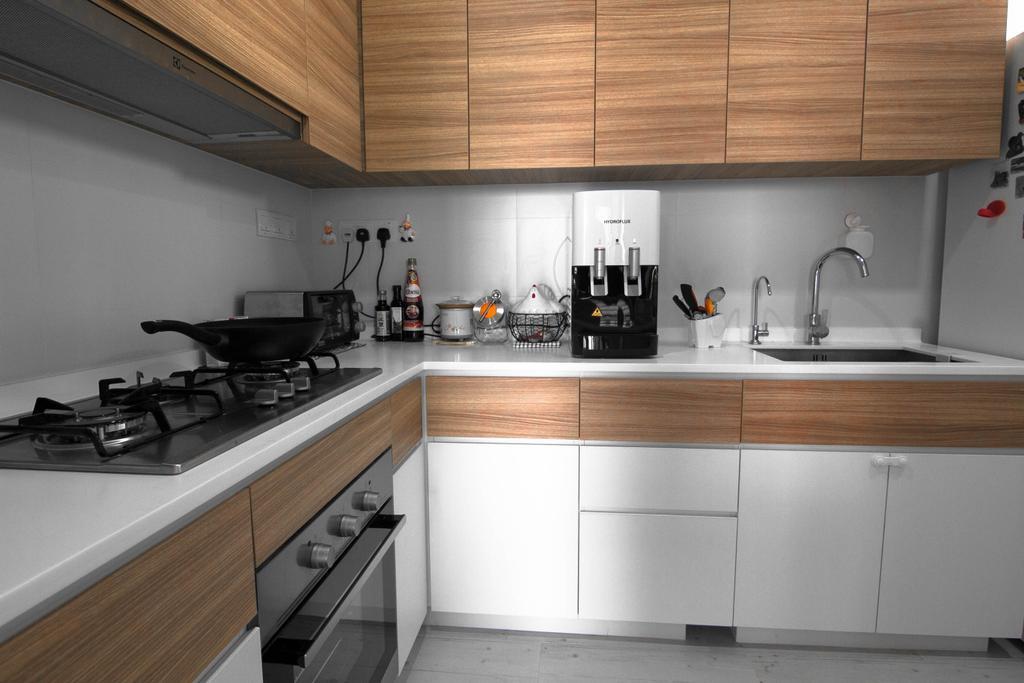 Scandinavian, Condo, Kitchen, Sea Horizon, Interior Designer, 9 Creation, Contemporary, Appliance, Electrical Device, Oven, Indoors, Interior Design, Room