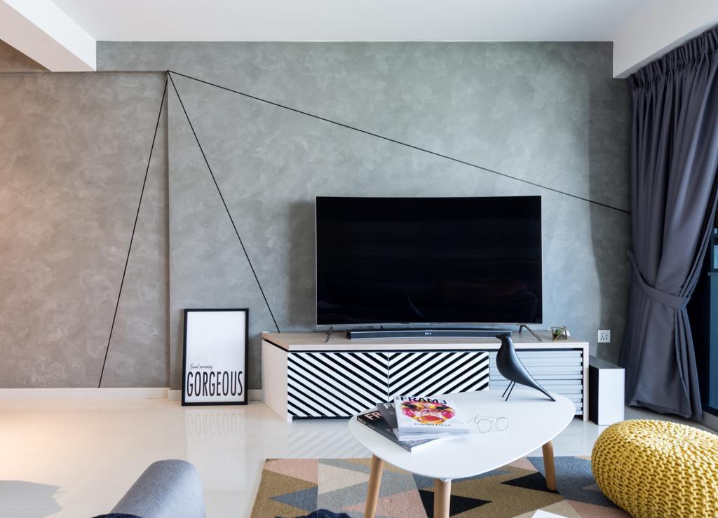 Minimalistic, Condo, Living Room, Boon Keng, Interior Designer, DISTINCTidENTITY, Scandinavian