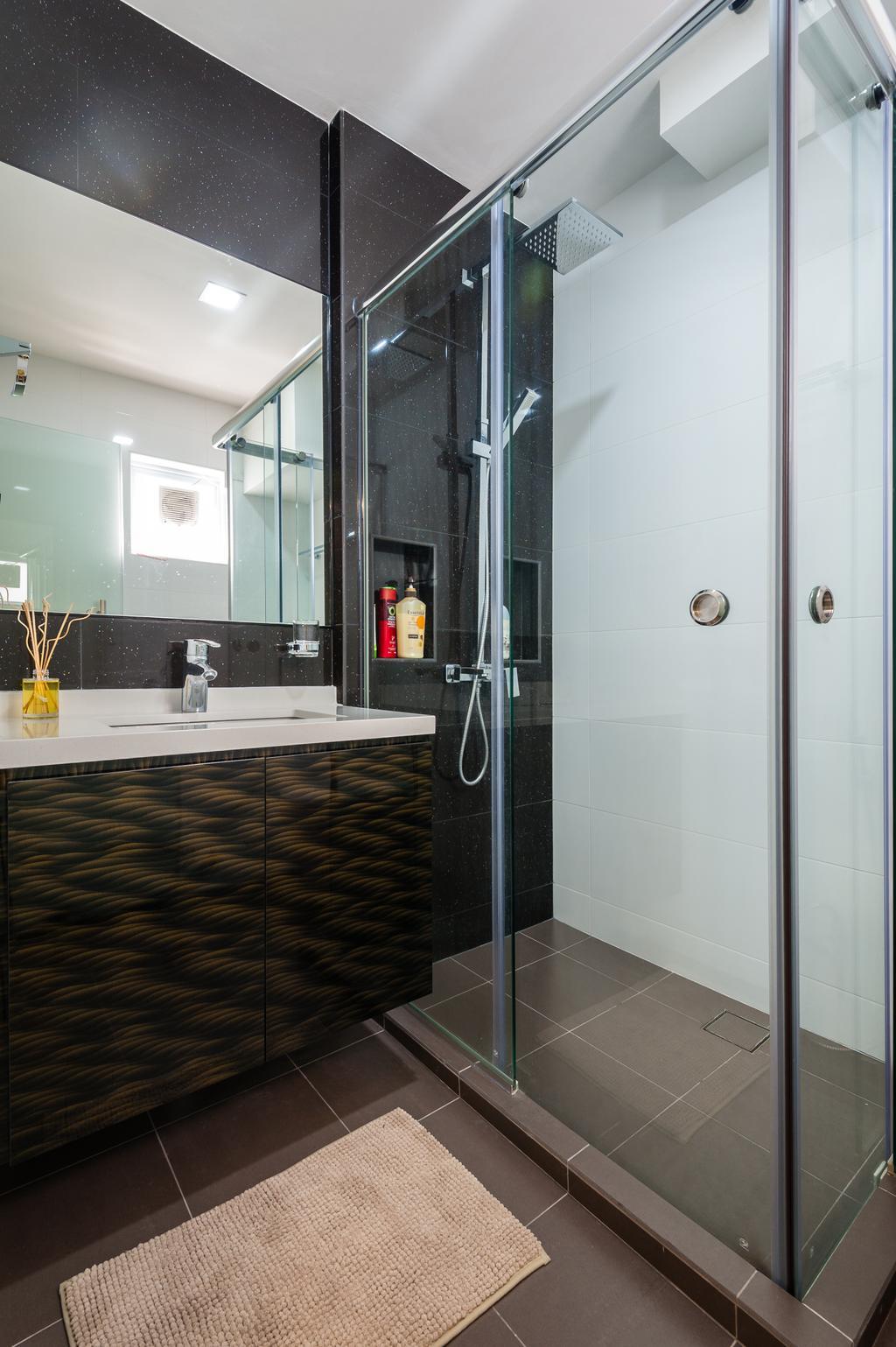 Traditional, HDB, Bathroom, Petir Road (Block 150), Interior Designer, Le Interi, Bathroom Vanities, Shower Area, Bathroom Tiles, Shower