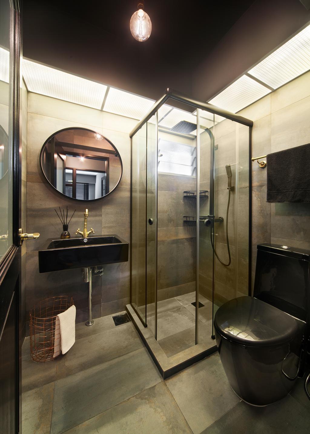 Eclectic, HDB, Bathroom, Bendemeer Road (Block 10A), Interior Designer, The Scientist, Industrial, Shower, Accessories, Bag, Handbag, Purse