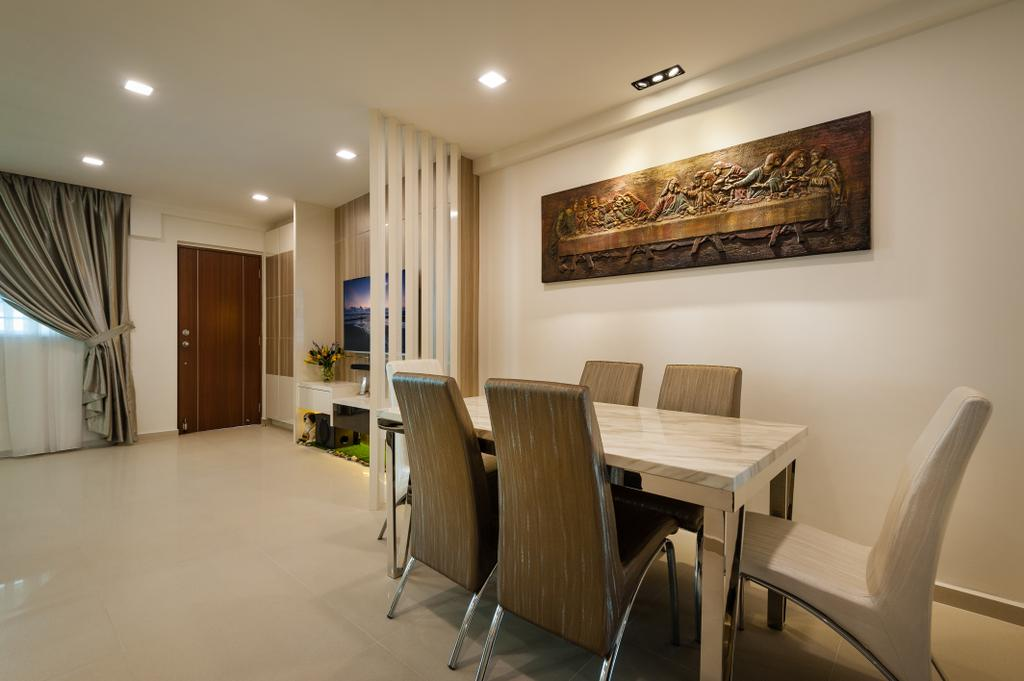 Traditional, HDB, Dining Room, Petir Road (Block 150), Interior Designer, Le Interi, Wall Art, Wall Decor, Dining Table, Dining Chairs, Partition, Chair, Furniture, Table, Indoors, Interior Design, Room, Art