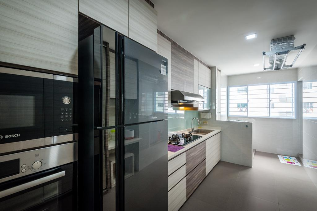 Traditional, HDB, Kitchen, Petir Road (Block 150), Interior Designer, Le Interi, Refrigerator, Cabinetry, Kitchen Cabinets, Laundry System, Clothesline, Appliance, Electrical Device, Microwave, Oven