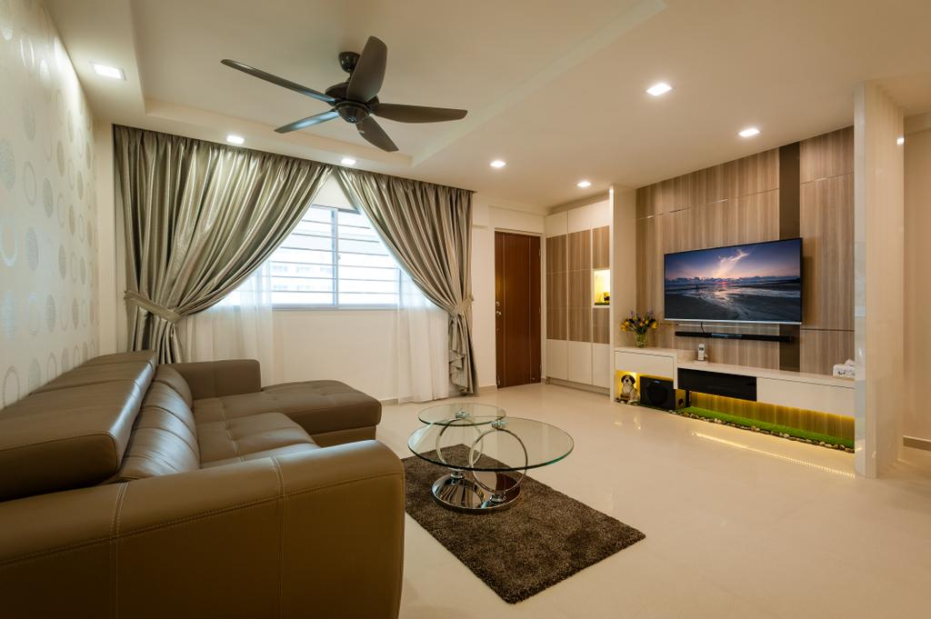 Traditional, HDB, Living Room, Petir Road (Block 150), Interior Designer, Le Interi, False Ceiling, Brown, Brown Tones, Wallpaper, Feature Wall, Tv Console, Curtains, Coffee Table, Sofa, Couch, Leather Sofa, Tv Cabinet, Furniture, Electronics, Entertainment Center, Home Theater, Indoors, Interior Design, Room