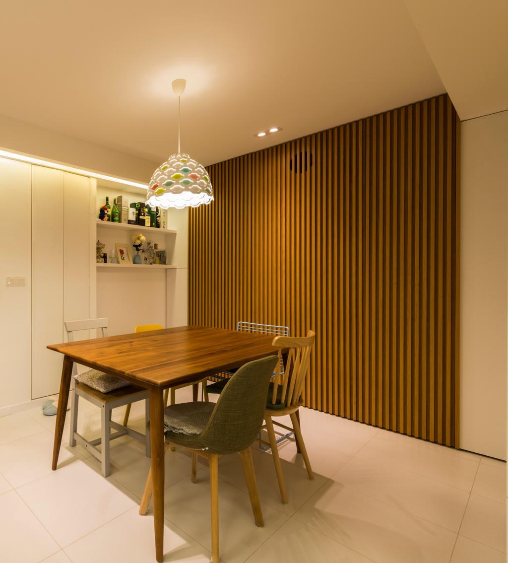 Minimalistic, HDB, Dining Room, Sky Terrace @ Dawson, Interior Designer, Create, Chair, Furniture, Lamp, Lampshade, Indoors, Interior Design, Room, Dining Table, Table