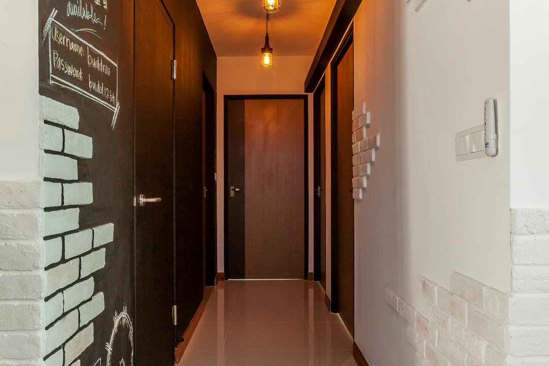 Punggol, The Interior Lab, Industrial, HDB, Brick Walls, Pendant Lamps, Hanging Lamps, Chalkboard, Chalkboard Walls, Corridor