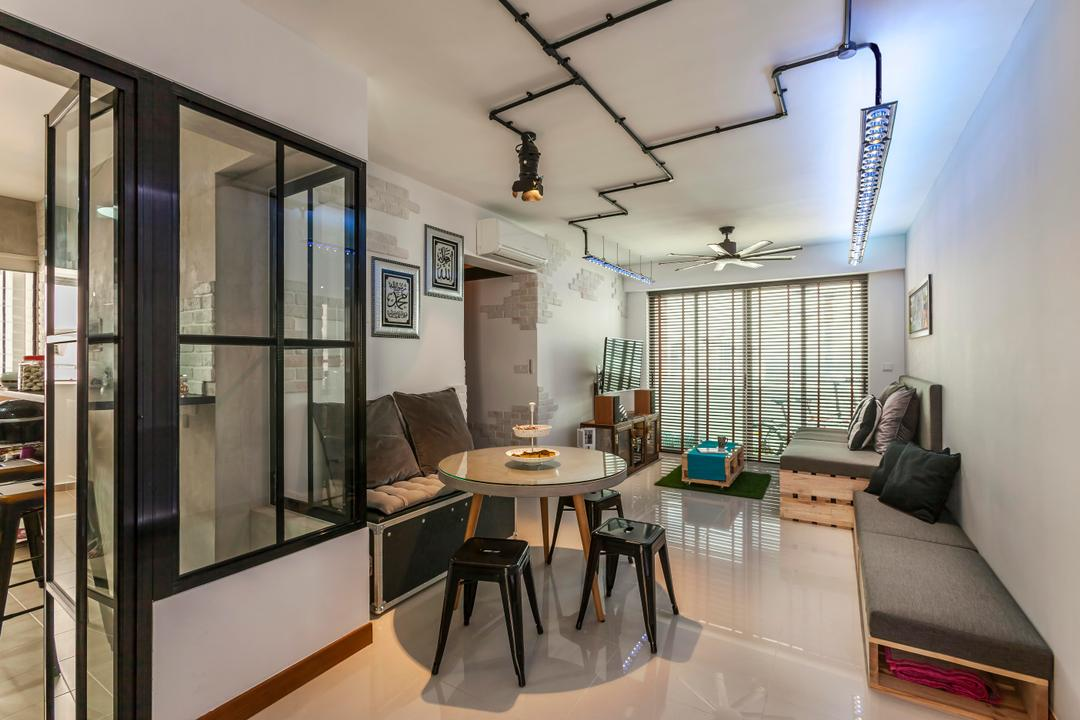 Punggol, The Interior Lab, Industrial, Living Room, HDB, Raw, Grey, Grey Tones, Track Lights, Track Lighting, Wooden Couch, Bench, Brick Walls, Tables, Chairs, Stools, Wall Art, Wall Decor, Wall Painting, Dining Table, Furniture, Table, Dining Room, Indoors, Interior Design, Room, Chair
