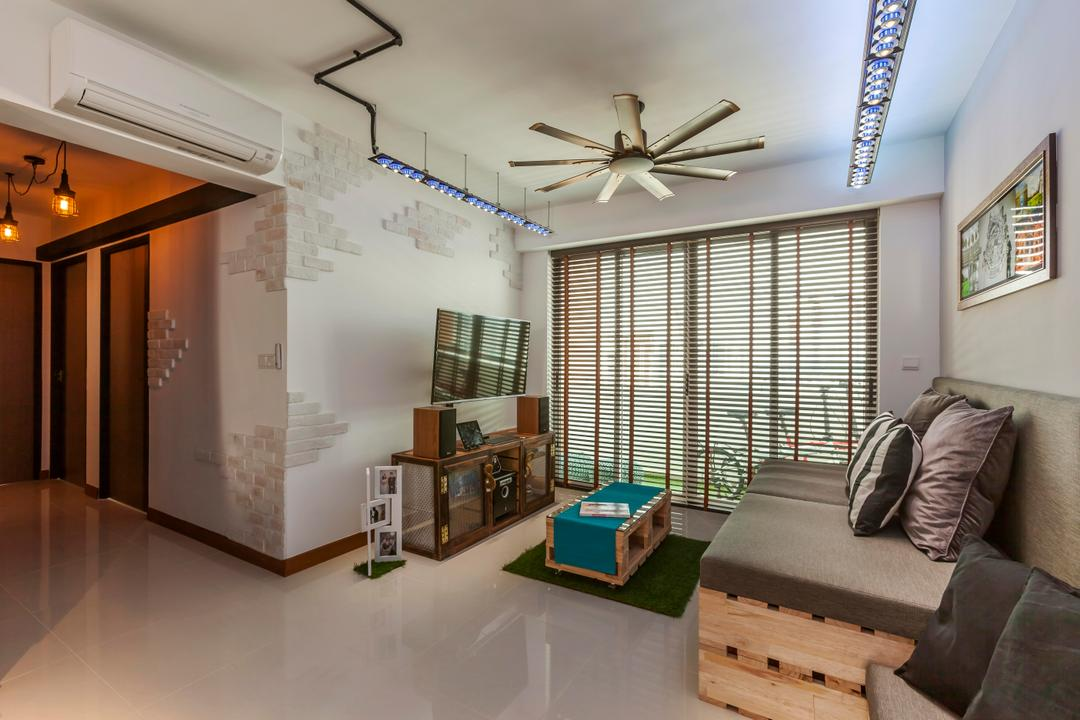 Punggol, The Interior Lab, Industrial, HDB, Raw, Wooden Couch, Sofa, Couch, Coffee Table, Grey, Grey Tones, Wall Art, Wall Decor, Ceiling Fan, Brick Walls, Blinds, Tv Cabinets, Track Lights, Track Lighting, Building, Housing, Indoors, Loft, Furniture, Interior Design, Living Room, Room