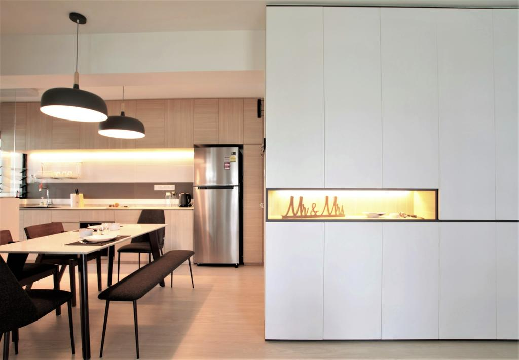 Minimalistic, HDB, Dining Room, Choa Chu Kang, Interior Designer, Intrigue-d Design Consultancy, Dining Table, Furniture, Table, Light Fixture, Indoors, Interior Design, Room