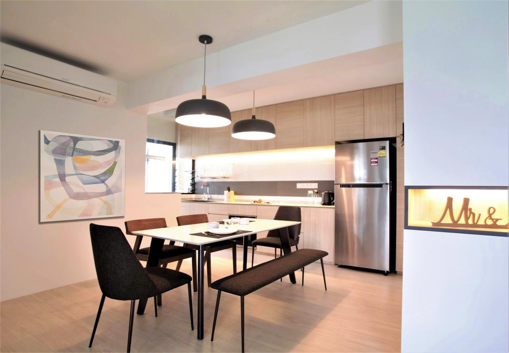 Minimalistic, HDB, Dining Room, Choa Chu Kang, Interior Designer, Intrigue-d Design Consultancy, Chair, Furniture, Indoors, Interior Design, Room, Dining Table, Table