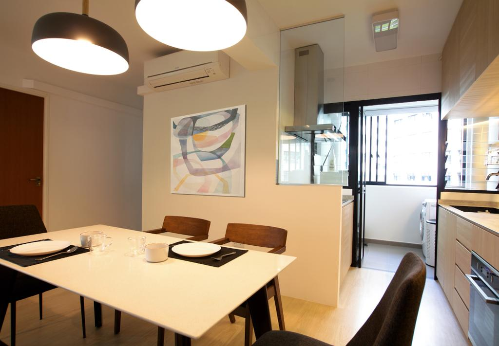 Minimalistic, HDB, Dining Room, Choa Chu Kang, Interior Designer, Intrigue-d Design Consultancy, Dining Table, Furniture, Table, Indoors, Interior Design, Room, Lighting, Chair