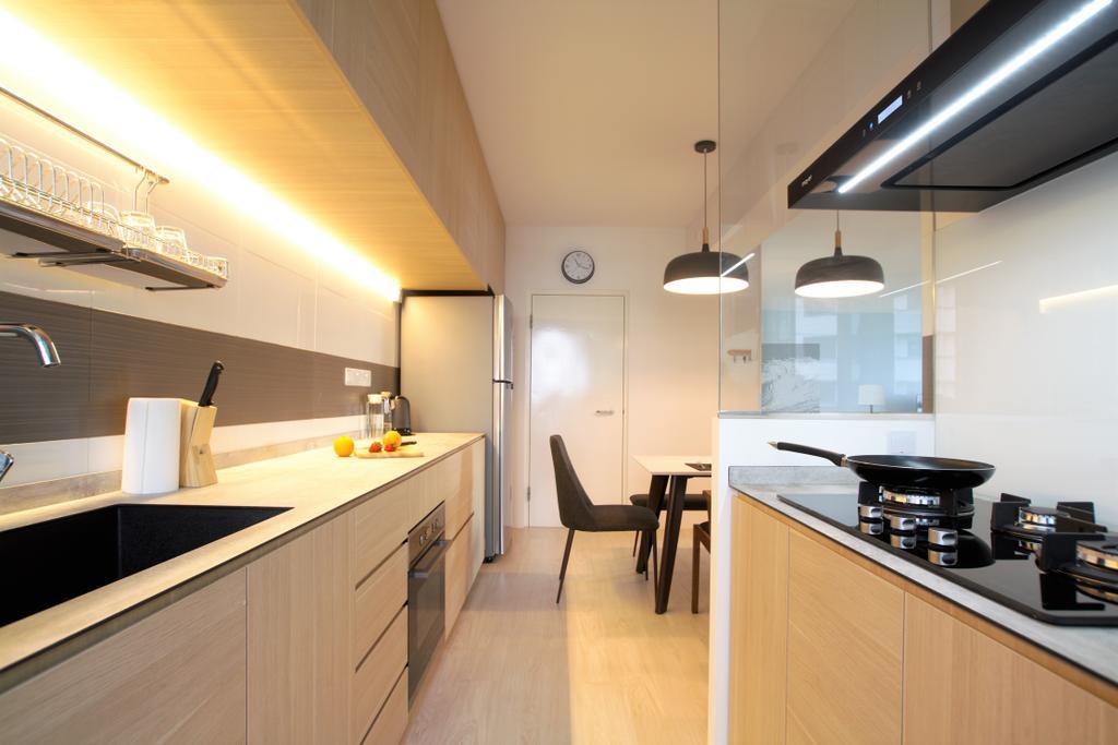 Minimalistic, HDB, Kitchen, Choa Chu Kang, Interior Designer, Intrigue-d Design Consultancy, Indoors, Interior Design, Dining Table, Furniture, Table, Light Fixture