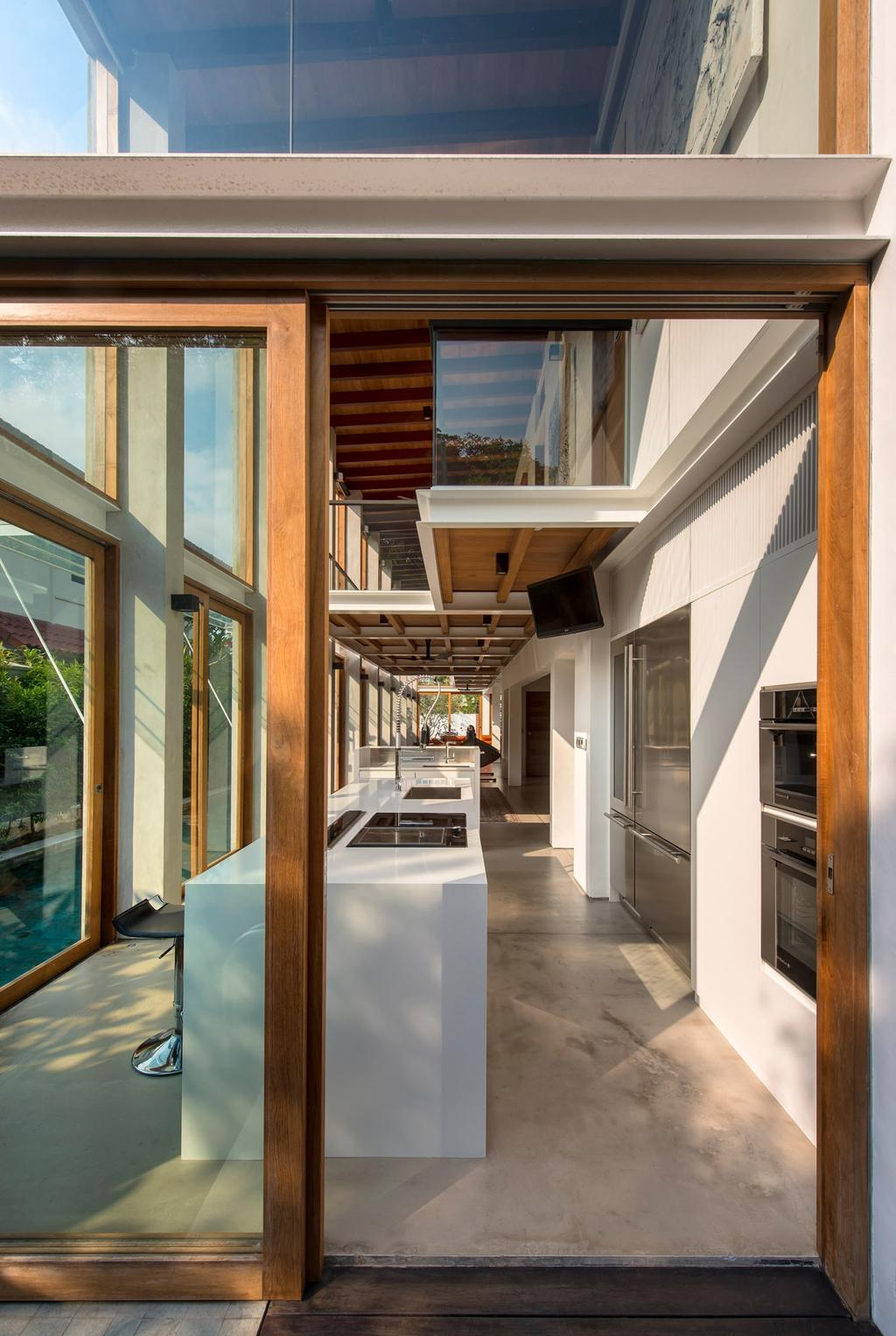 Contemporary, Landed, Kitchen, Carmichael House, Architect, Visual Text Architects, Hardwood, Stained Wood, Wood