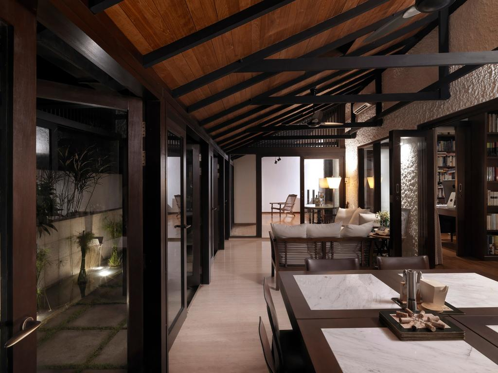 Traditional, Landed, Dining Room, Binjai House, Architect, Visual Text Architects, Flora, Jar, Plant, Potted Plant, Pottery, Vase, Dining Table, Furniture, Table, Bench, Indoors, Interior Design, Room