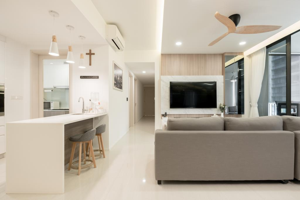 Modern, Condo, Living Room, The Amore, Interior Designer, Lemonfridge Studio, Couch, Furniture, Indoors, Interior Design, Fireplace, Hearth, Dining Table, Table