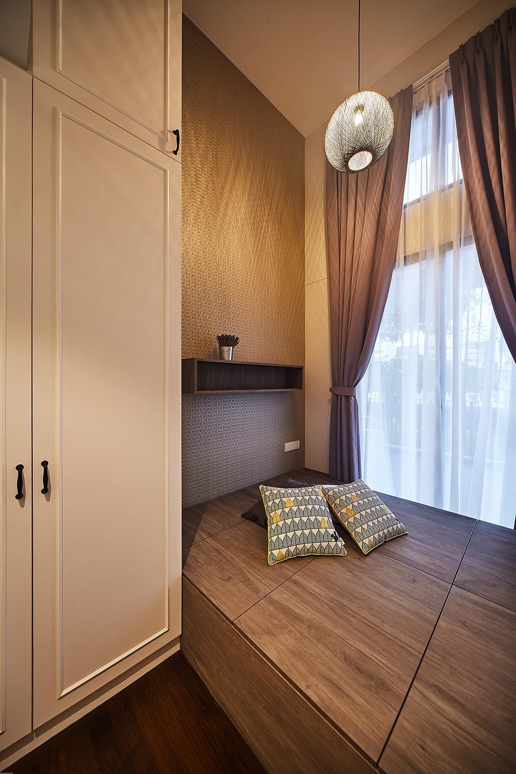 Modern, Condo, Bedroom, The Village, Interior Designer, D5 Studio Image, Vintage, HDB, Building, Housing, Indoors, Interior Design, Room, Curtain, Home Decor