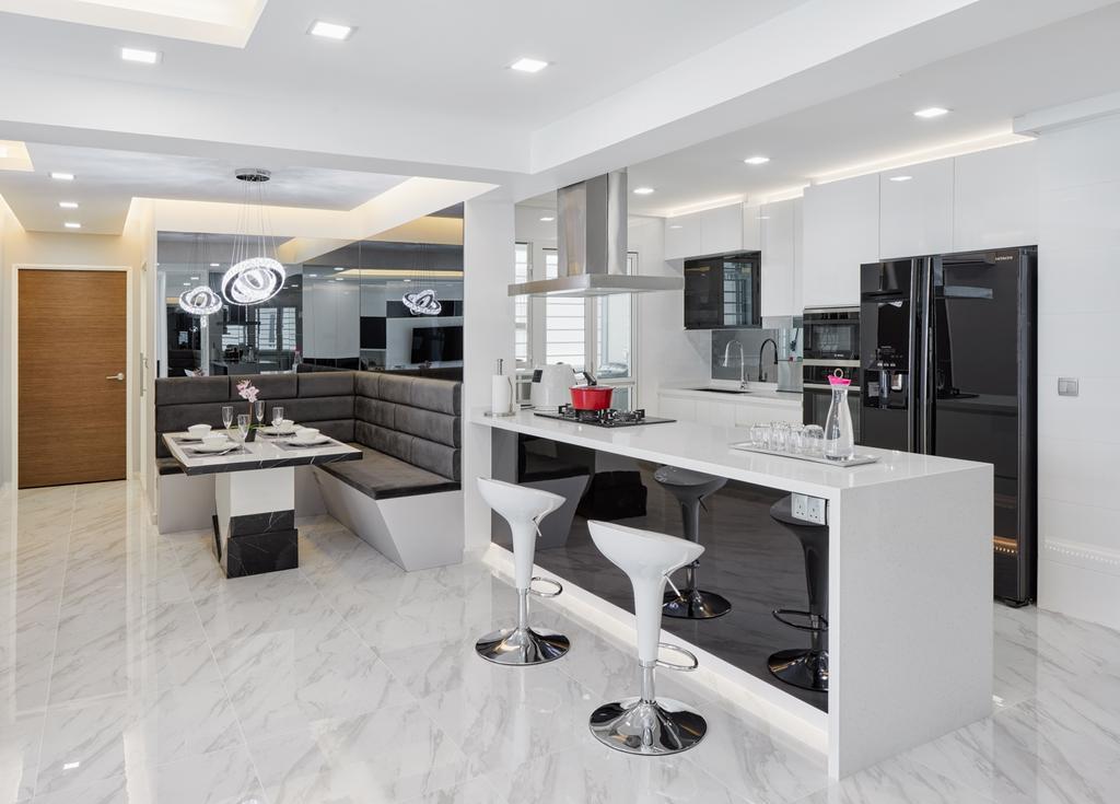 Modern, HDB, Dining Room, Compassvale Crescent (Block 288), Interior Designer, Absolook Interior Design, Bathroom, Indoors, Interior Design, Room