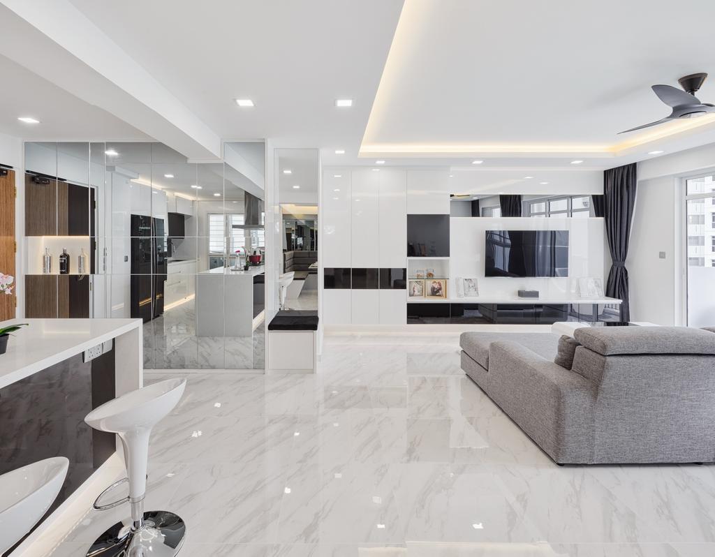 Modern, HDB, Living Room, Compassvale Crescent (Block 288), Interior Designer, Absolook Interior Design, Chair, Furniture, Indoors, Room, Sink