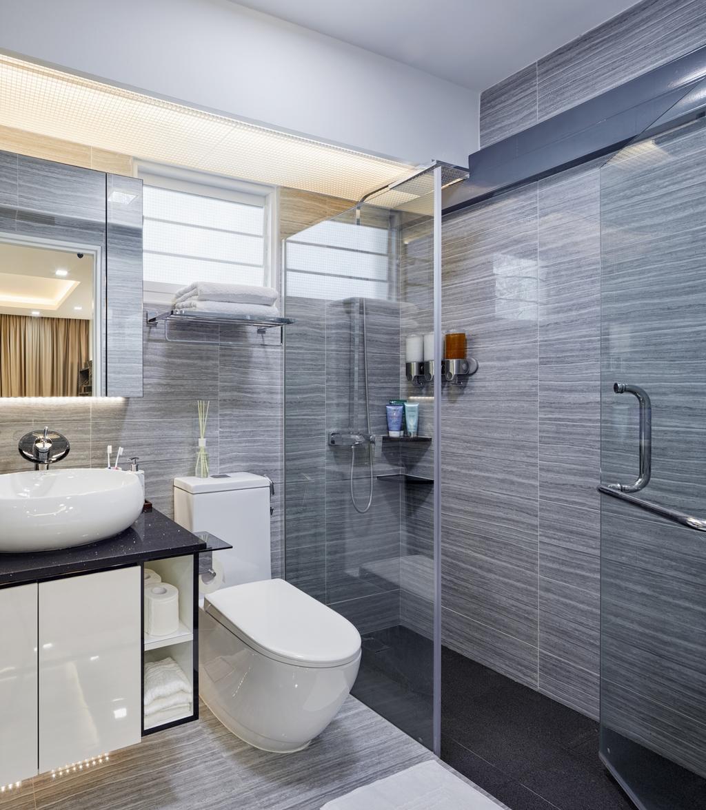 Modern, HDB, Bathroom, Compassvale Crescent (Block 288), Interior Designer, Absolook Interior Design, Indoors, Interior Design, Room, Door, Sliding Door