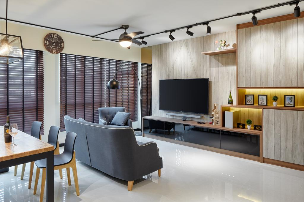 HDB, Living Room, Boon Lay Avenue (Block 218B), Interior Designer, Absolook Interior Design, Dining Table, Furniture, Table, Chair, Indoors, Interior Design