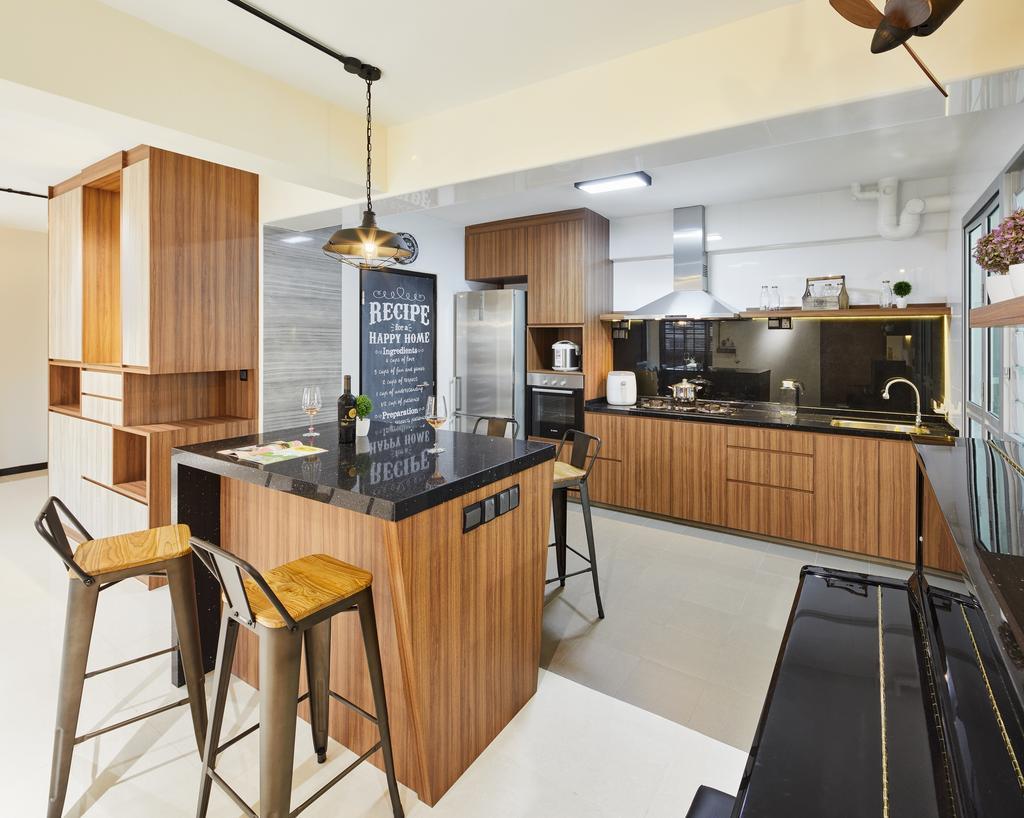 HDB, Kitchen, Boon Lay Avenue (Block 218B), Interior Designer, Absolook Interior Design, Indoors, Interior Design, Room, Furniture, Chair