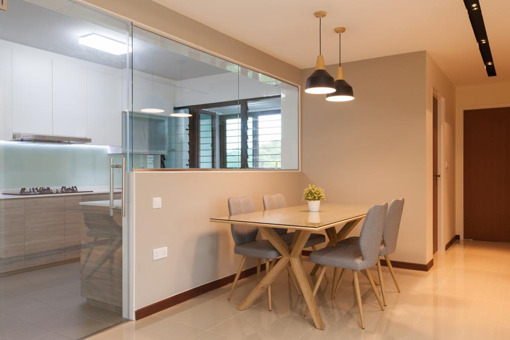 Modern, HDB, Dining Room, Yishun Avenue 4, Interior Designer, Charlotte's Carpentry, Contemporary, Chair, Furniture, Dining Table, Table, Indoors, Interior Design, Room