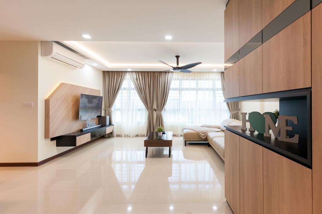 Modern, HDB, Living Room, Yishun Avenue 4, Interior Designer, Charlotte's Carpentry, Contemporary, Curtain, Home Decor, Indoors, Interior Design, Room