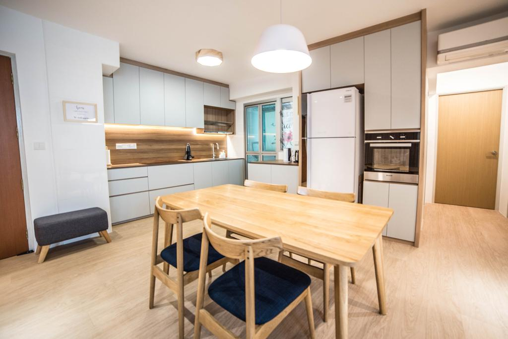 Scandinavian, HDB, Dining Room, Teck Ghee Parkview, Interior Designer, Luova Project Services, Minimalistic, Chair, Furniture, Dining Table, Table, Indoors, Interior Design, Room, Flooring, Plywood, Wood